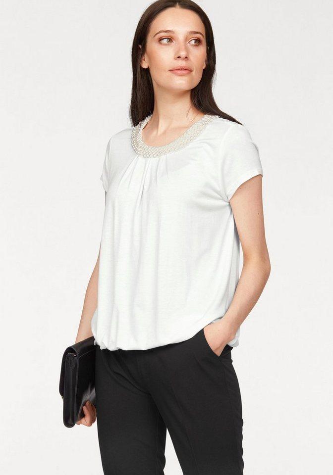 Bruno Banani T-Shirt Halsausschnitt mit Zierperlen-Besatz in offwhite