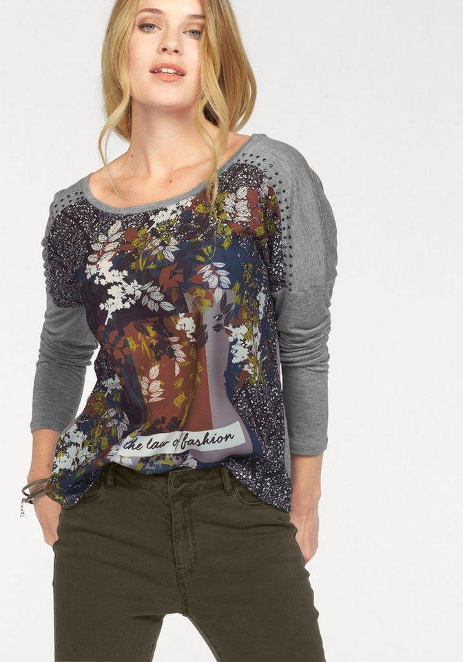 Vero Moda Langarmshirt »APRIL« in grau-meliert-bunt