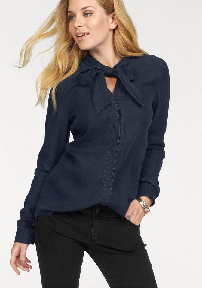 Vero Moda Jeansbluse »NANNA« mit Schluppe in dunkelblau