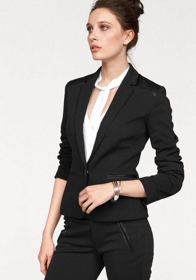 Bruno Banani Blazer »Sportive-Eleganz« mit glänzenden Satin-Details in schwarz