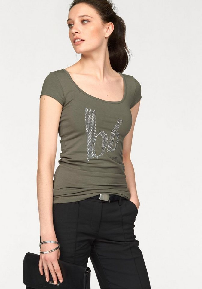 Bruno Banani T-Shirt mit Logo-Steinchen-Besatz in khaki