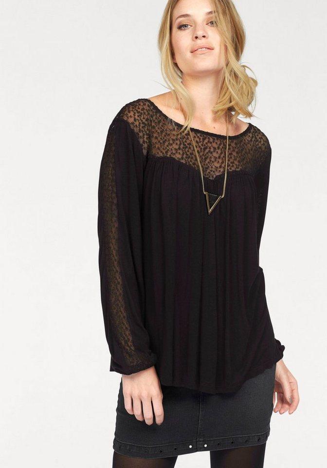 Vero Moda Langarmshirt »LUNA« mit Spitzeneinsatz in schwarz
