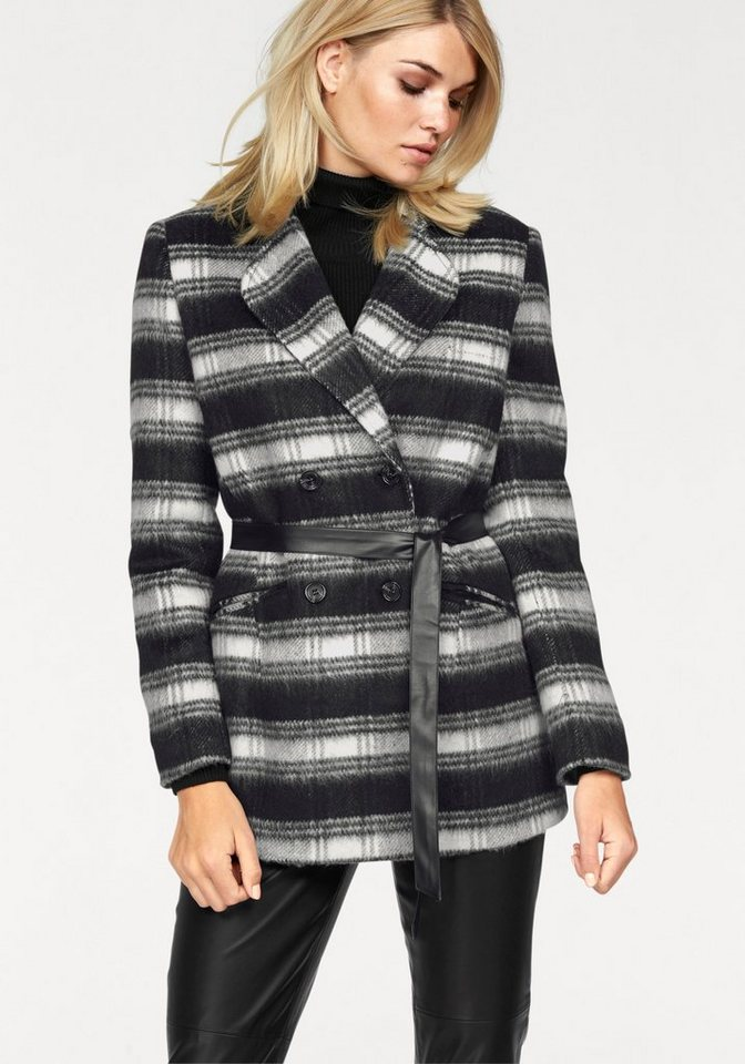 Laura Scott Langjacke Angenehm flauschige Wollmischung in schwarz-wollweiß-kariert