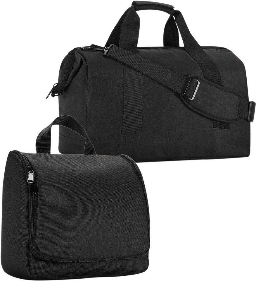 reisenthel® Reisetasche »allrounder« und Kosmetiktasche »toiletbag« black im SET in schwarz