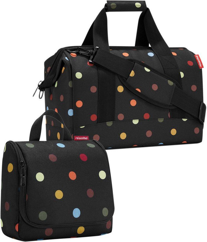 reisenthel® Reisetasche »allrounder« und Kosmetiktasche »toiletbag« dots im SET in schwarz/bunt