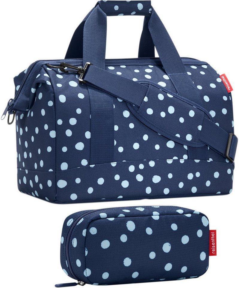 reisenthel® Reisetasche »allrounder M« und Kosmetiktasche »multicase« spots navy im SET in blau/weiß
