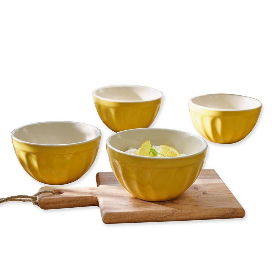 Loberon Schale 4er-Set »Tifaine« in gelb/weiß