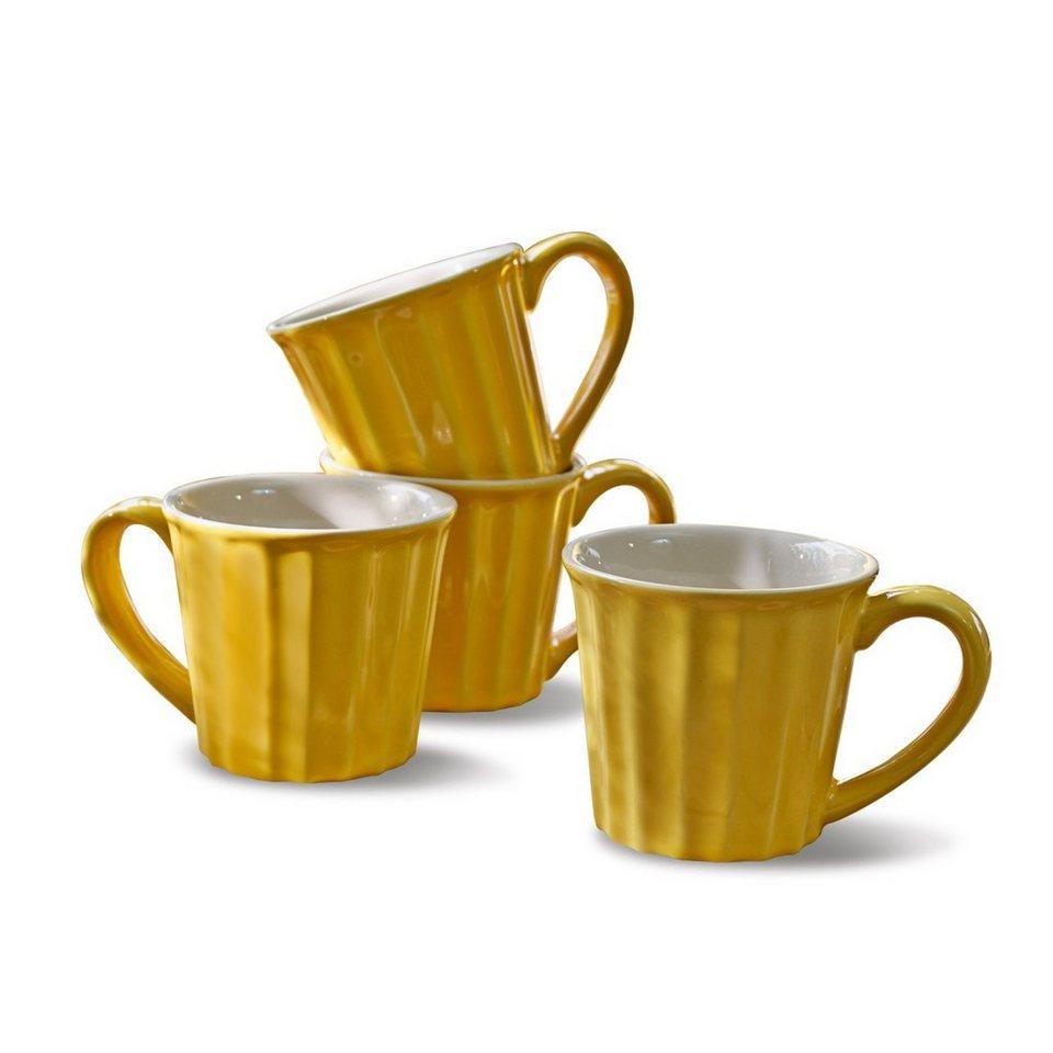 Loberon Tasse 4er-Set »Tianie« in gelb/weiß