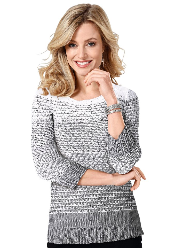 Lady Pullover mit Glanzgarn in silberfarben-weiß