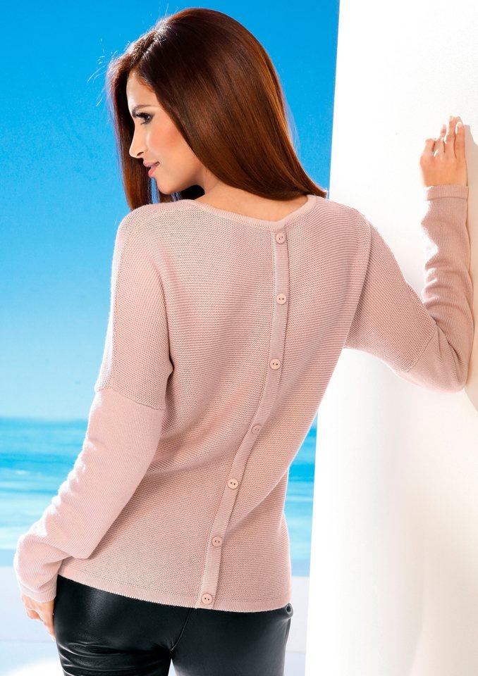 Création L Pullover mit leichter Ripp-Struktur in rosé