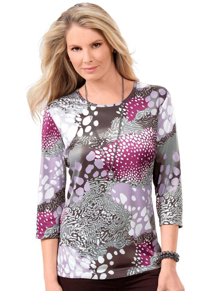 Classic Basics Shirt mit 3/4-Ärmel in grau-flieder-bedruckt