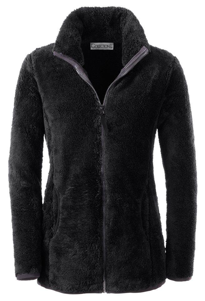 Collection L. Fleece-Jacke mit Wiener Nähten vorne in schwarz