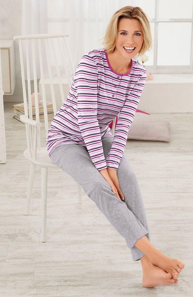 Schlafanzug, Rosalie in grau-meliert-geringelt