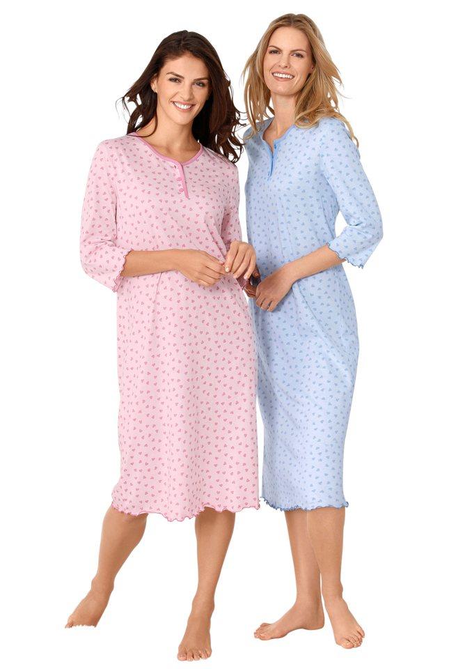 Nachthemden, Rosalie (2 Stck.) in hellblau + rosé