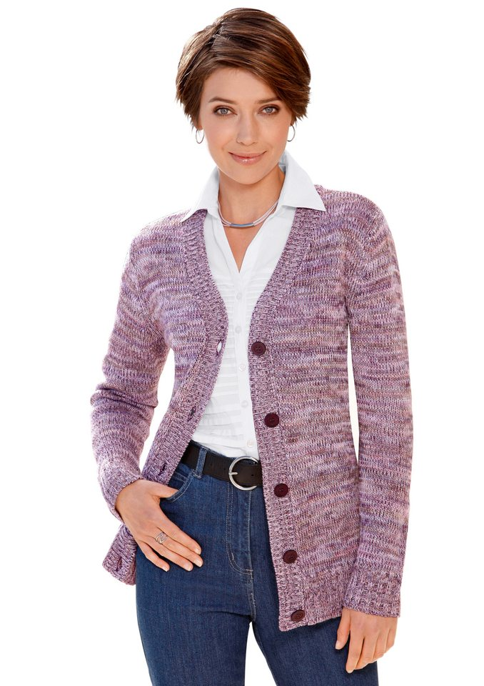 Collection L. Strickjacke, passgenau gestrickt in rosé-meliert
