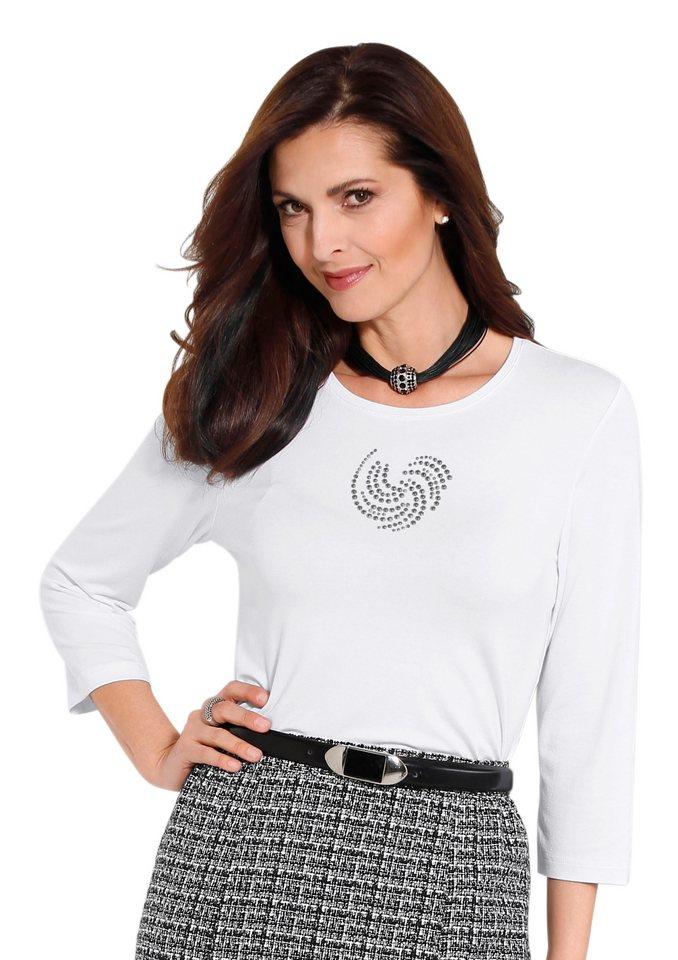 Classic Shirt mit glänzenden Metallplättchen in weiß