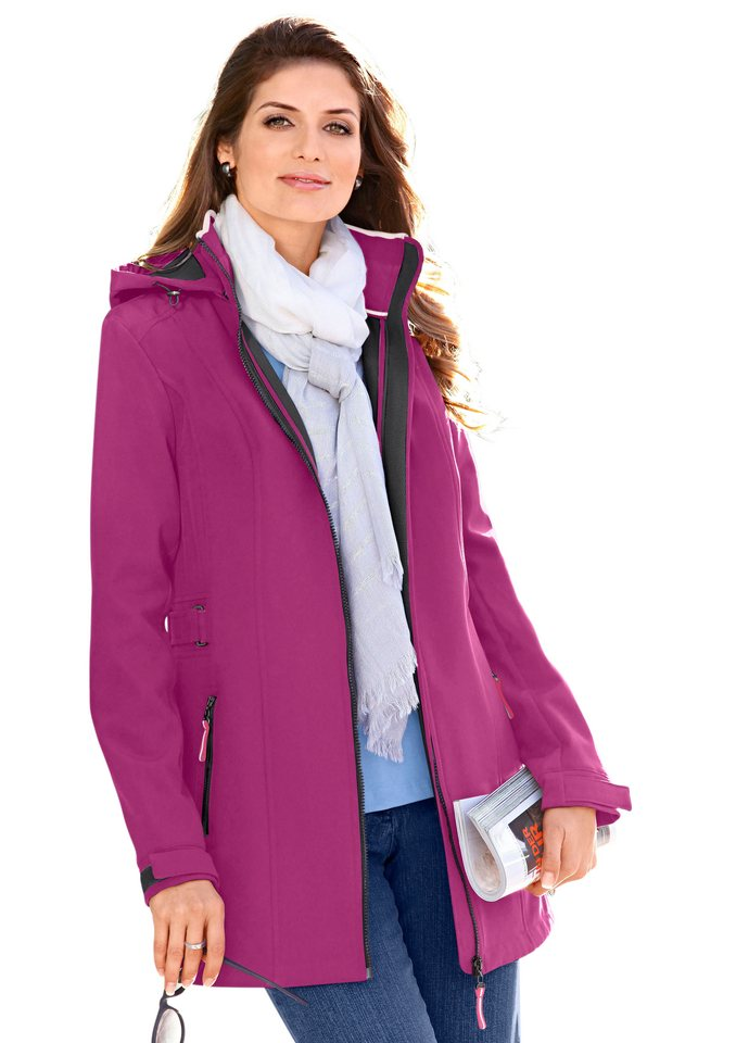 Collection L. Softshelljacke mit Stehkragen in cyclam