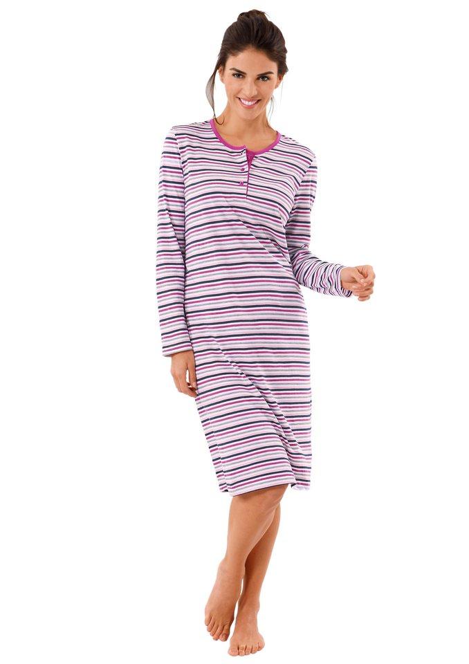 Nachthemd, Rosalie in grau-meliert-geringelt