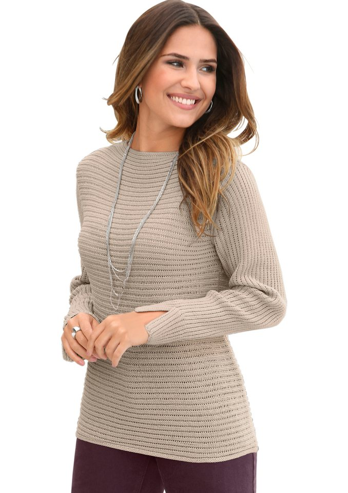 Création L Pullover im Rippenstrick in beige