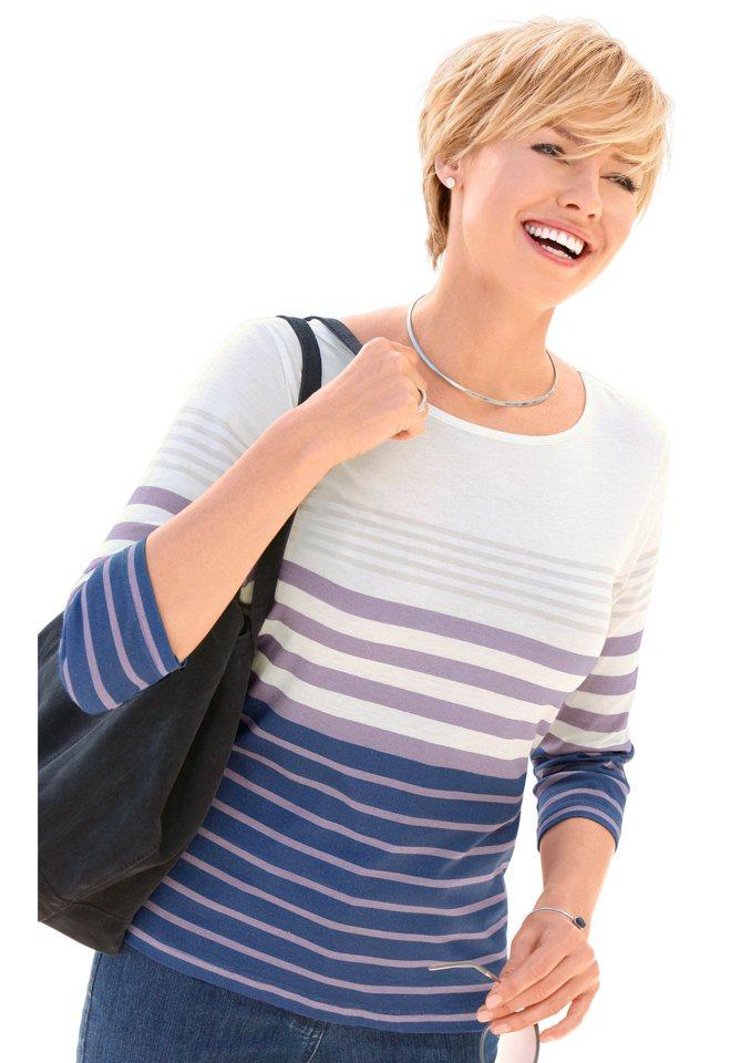 Collection L. Shirt mit 3/4-Ärmeln in blau-mauve-gestreift