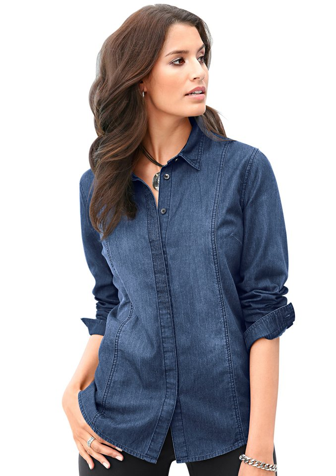 Classic Inspirationen Jeansbluse in modischer Waschung in blau