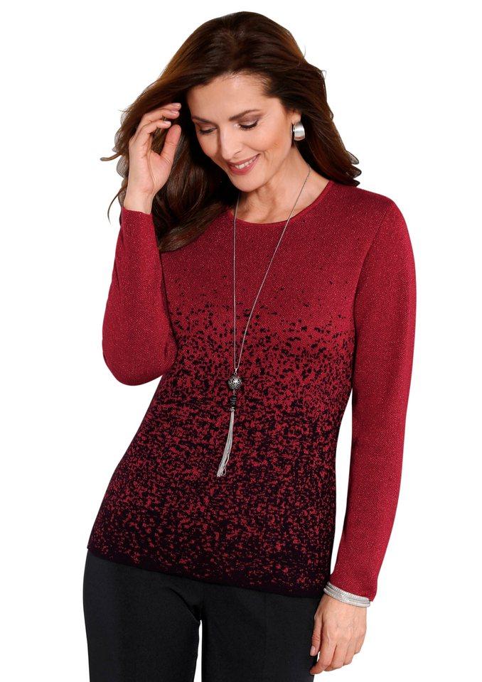Classic Pullover mit glitzerndem Effektgarn in schwarz-rot-gemustert