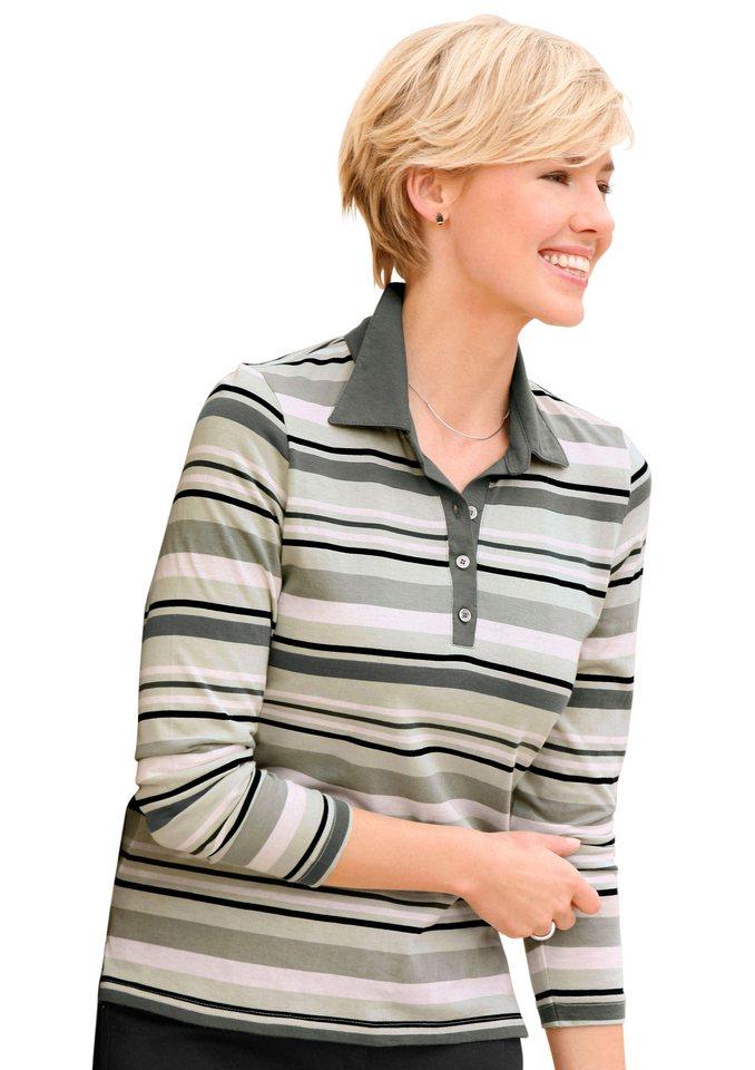 Collection L. Poloshirt im Streifendessin in schilf-gestreift
