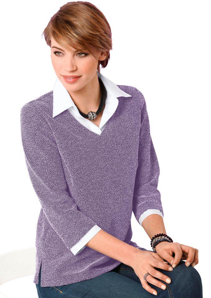 Classic Basics Shirt mit 3/4-Ärmel in lila