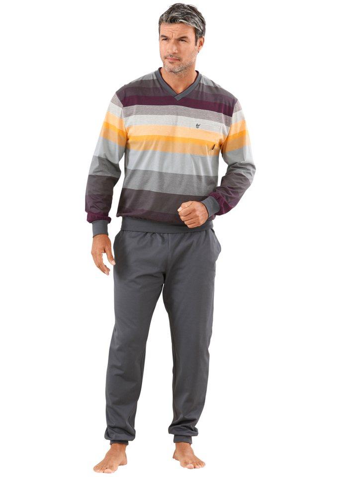 Schlafanzug, Hajo, »Hajo-Klima-Komfort« in anthrazit-geringelt