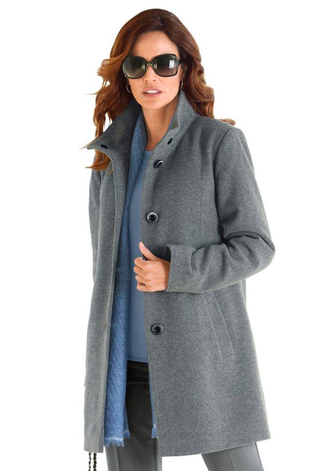 Wega Fashion Longjacke mit Stehkragen in grau