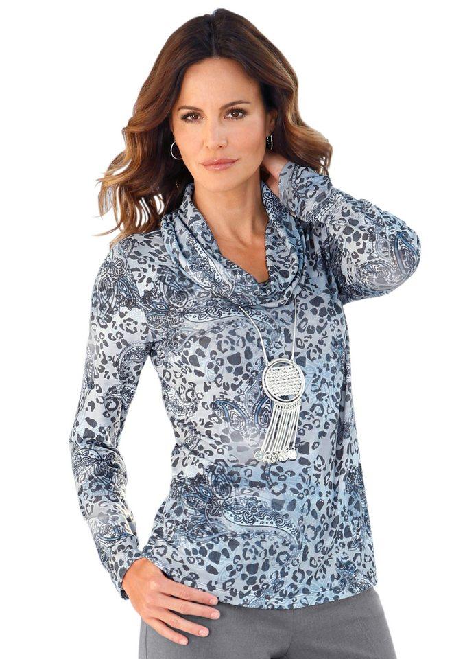 Alessa W. Shirt mit halsfernem Rollkragen in bleu-bedruckt