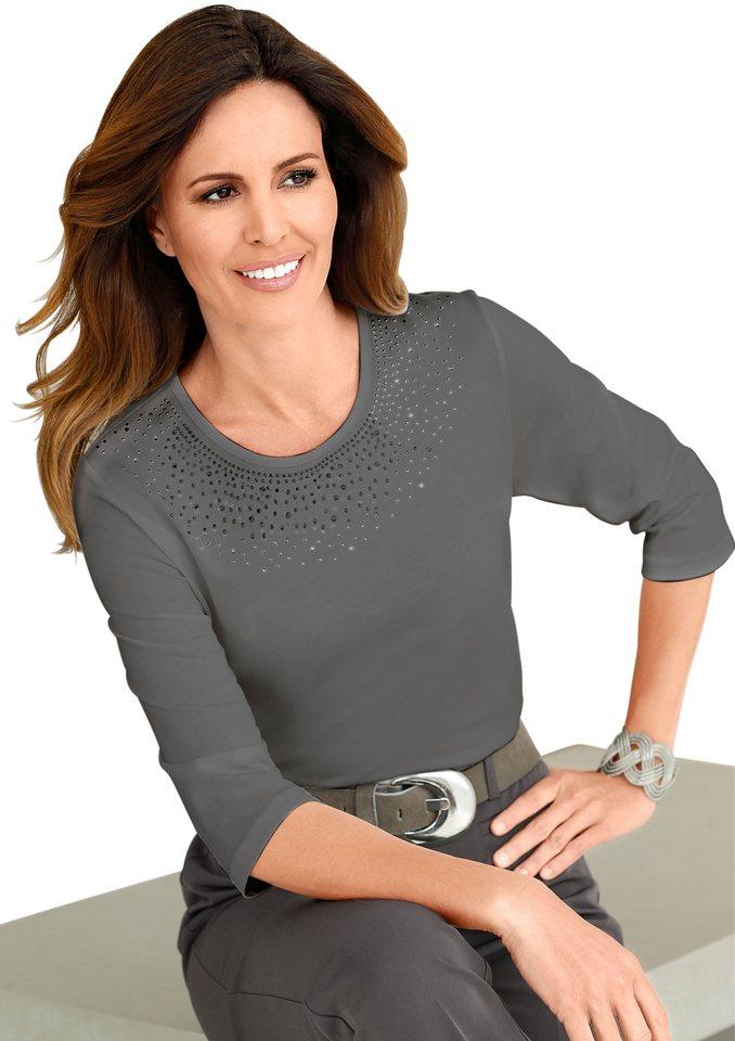 Lady Shirt mit schimmernden Metallplättchen in taupe