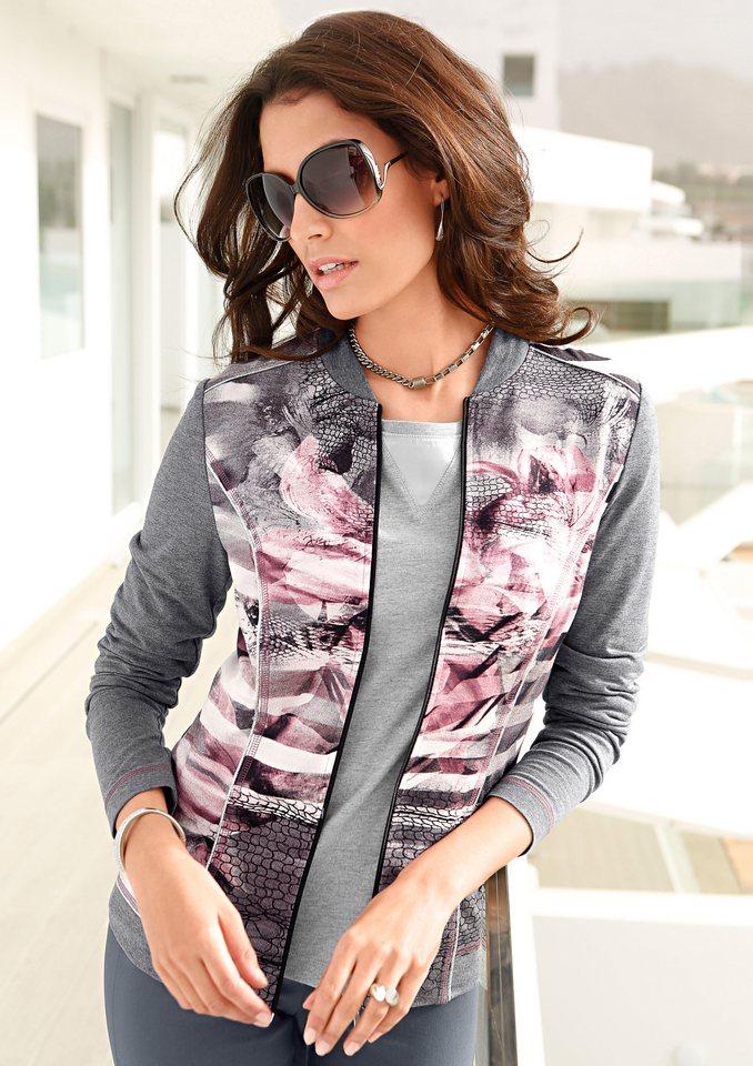 Classic Inspirationen Shirtjacke mit Stehkragen in grau-rosenholz