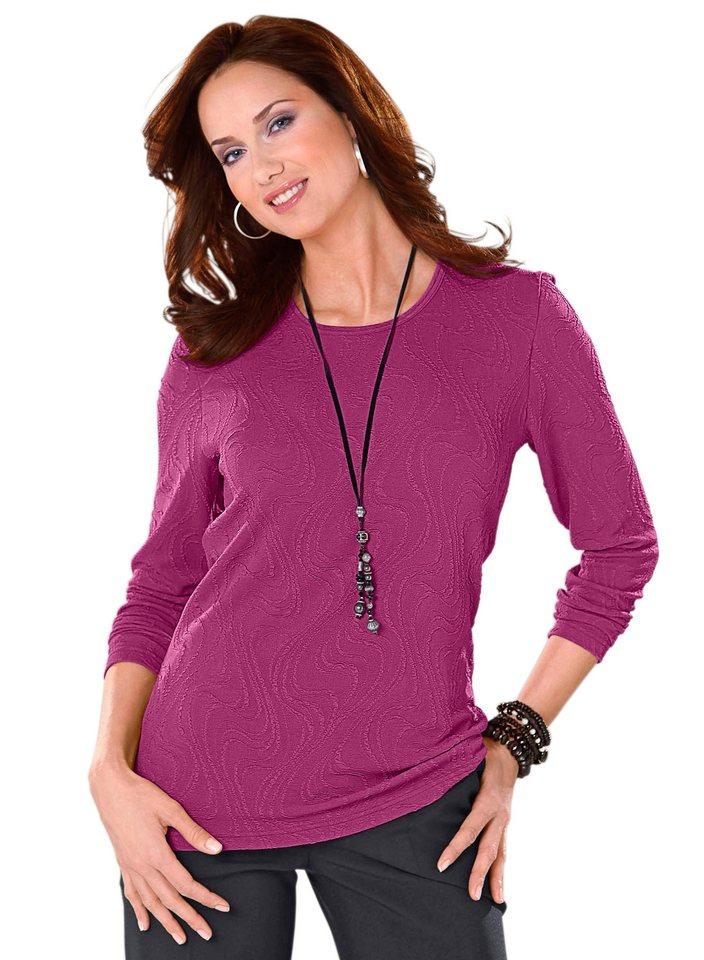 Classic Basics Shirt mit Struktur in fuchsia