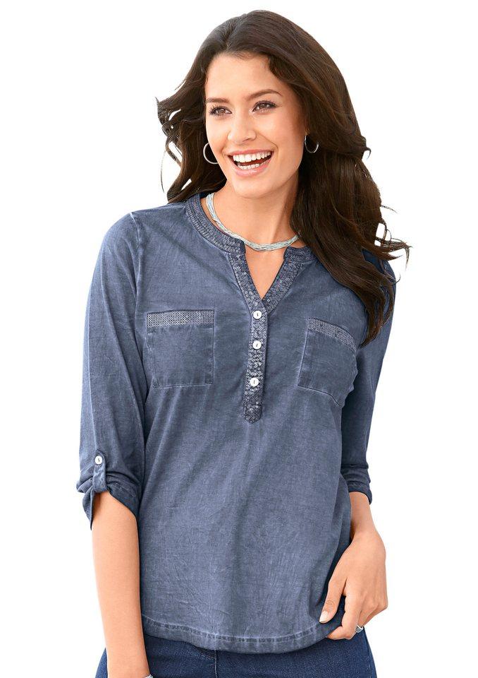 Classic Inspirationen Shirt mit Pailletten in blau