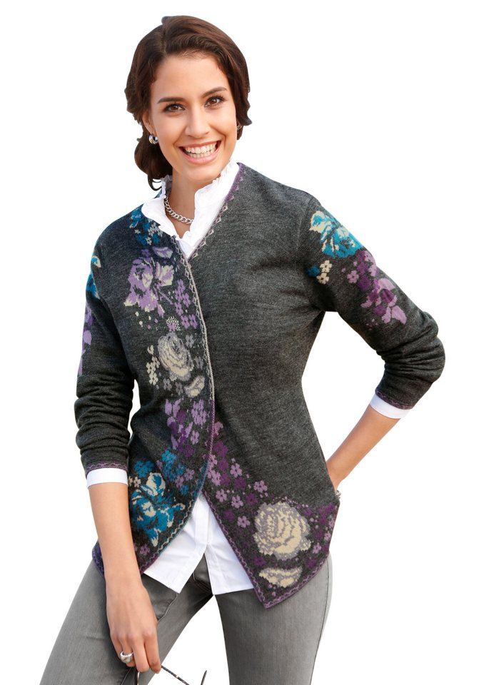 Lady Strickjacke mit romantischem Blumen-Jacquardmuster in grau-gemustert