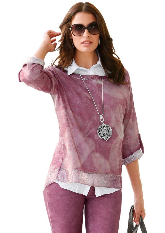 Création L Shirt mit längerem Saumabschluss in beere-bedruckt