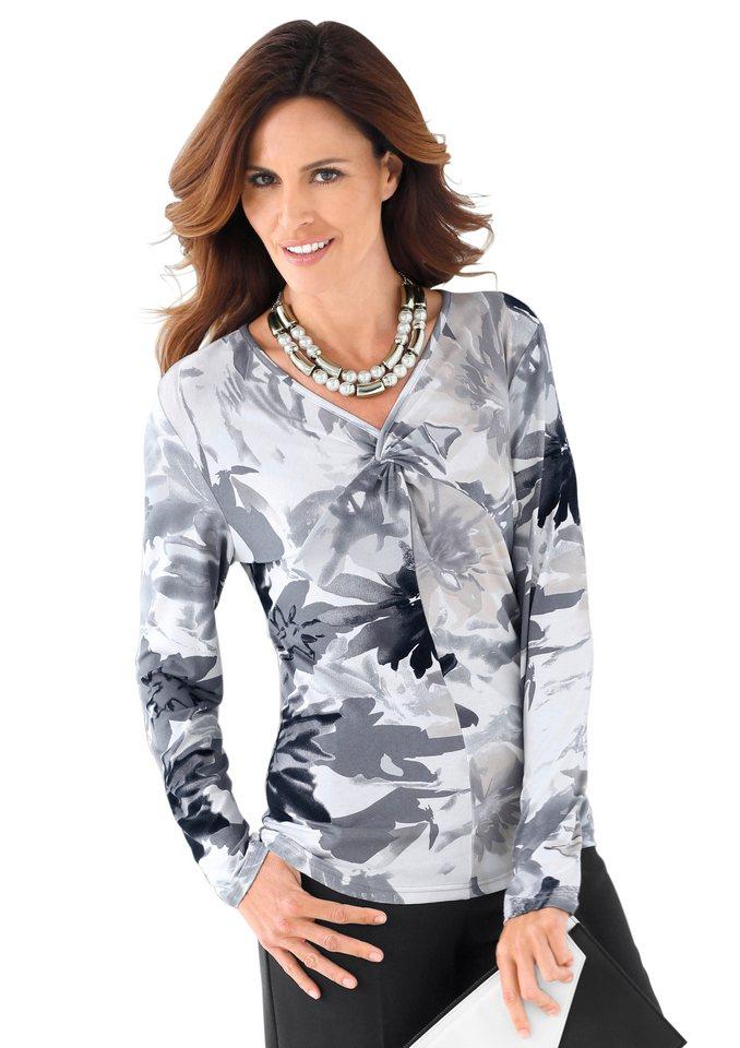 Alessa W. Shirt mit effektvollem Blütenmuster in grau-bedruckt