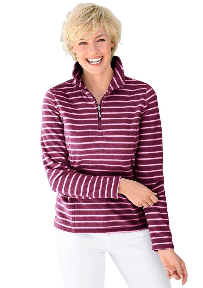 Collection L. Fleece-Shirt mit formgebenden Wiener Nähten in brombeer-gestreift