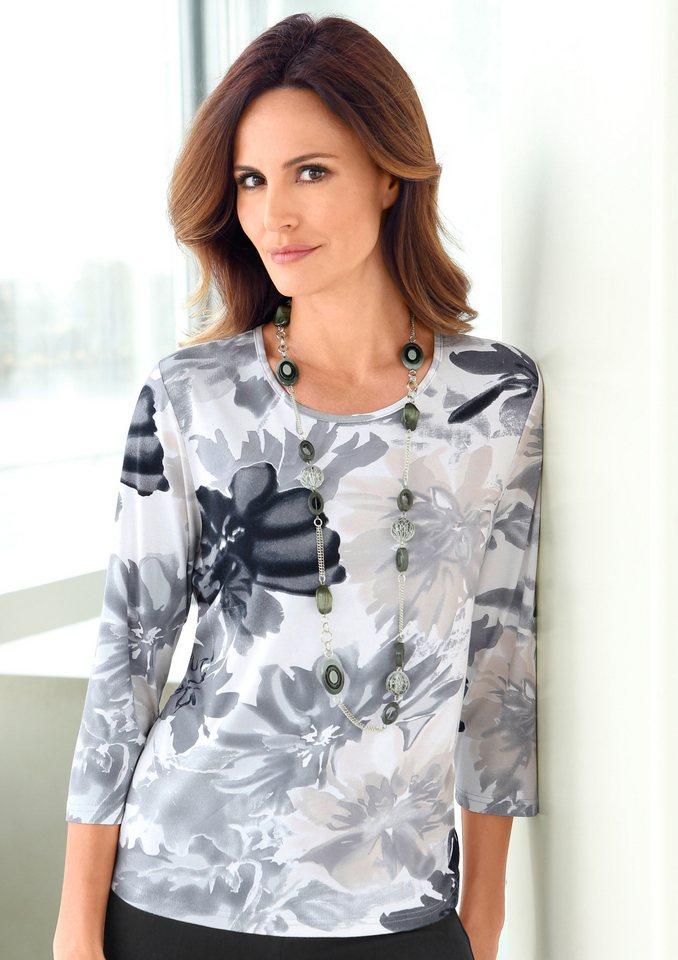 Alessa W. Shirt mit paspeliertem Rundhals-Ausschnitt in grau-bedruckt