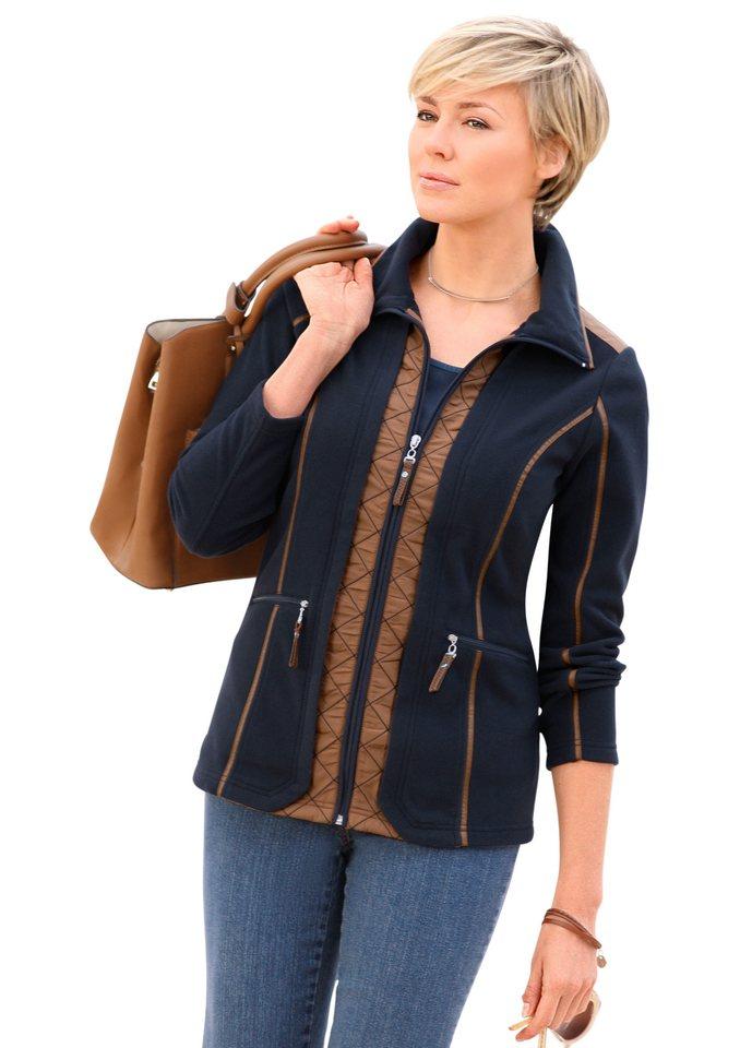 Collection L. Fleece-Jacke mit kontratstfarbig gewebten Steppeinsätzen in marine-nugat