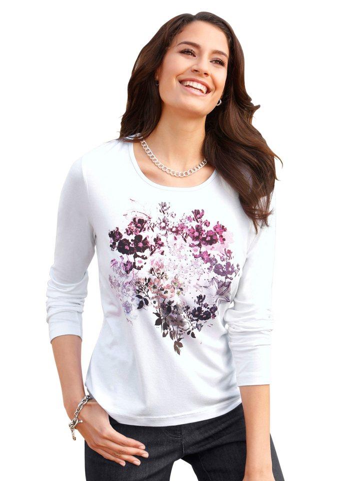 Lady Shirt mit Glitzersteinchen-Verzierung in weiß-bedruckt
