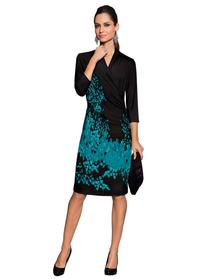 Together Jersey-Kleid in Wickeloptik in schwarz-petrol