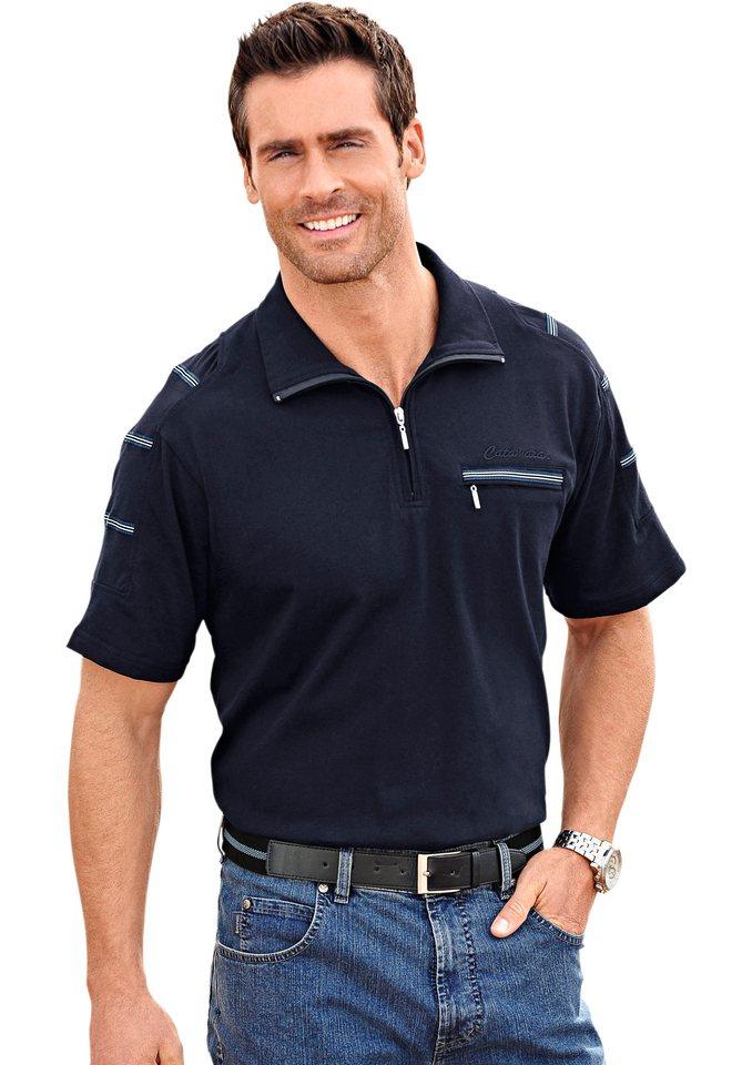 Catamaran Kurzarm-Shirt mit Troyerkragen in marine