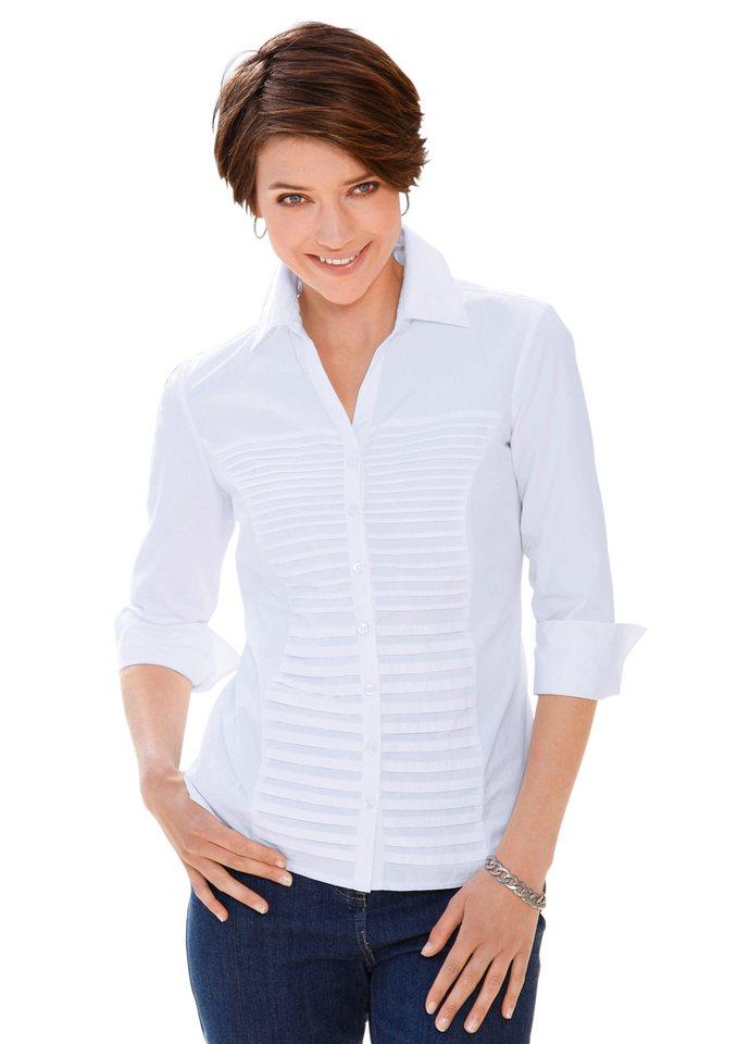 Collection L. Bluse mit 3/4-Ärmeln mit Aufschlag in weiß