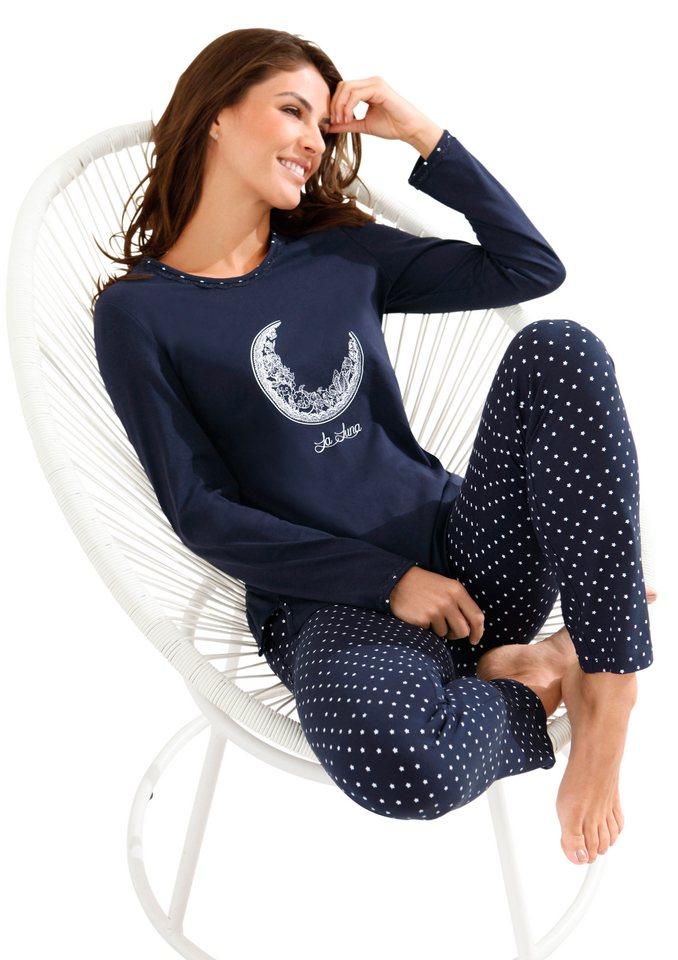 Schlafanzug, Ringella, »Lingerie« in marine-bedruckt