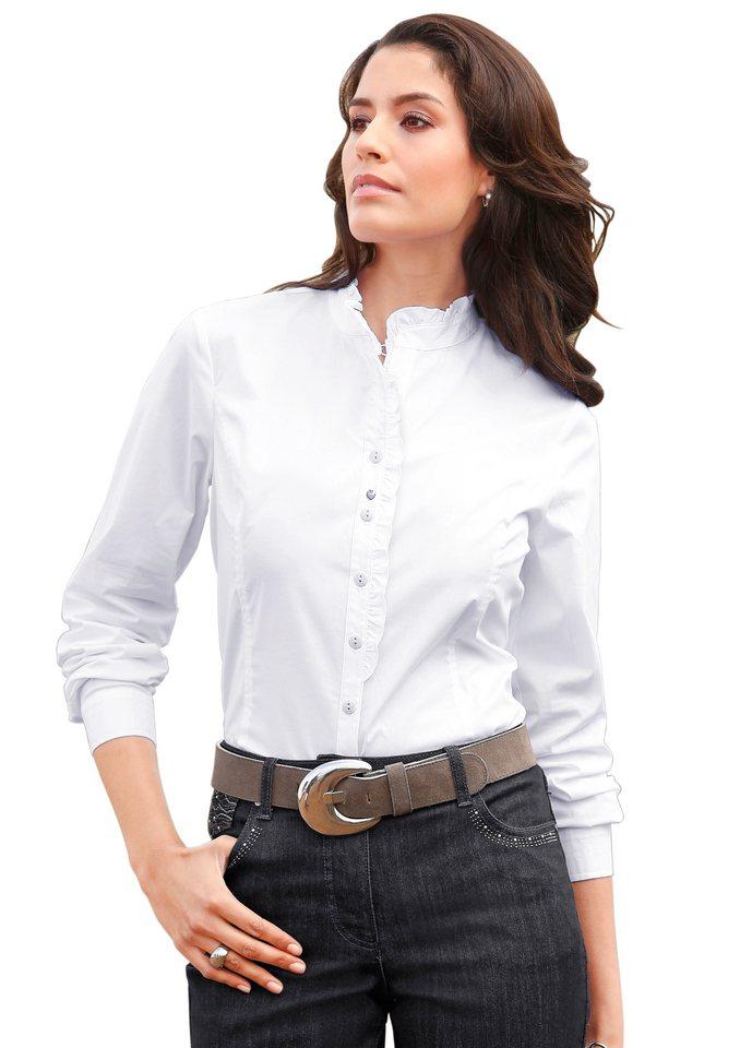 Lady Bluse mit Rüschenkante in weiß