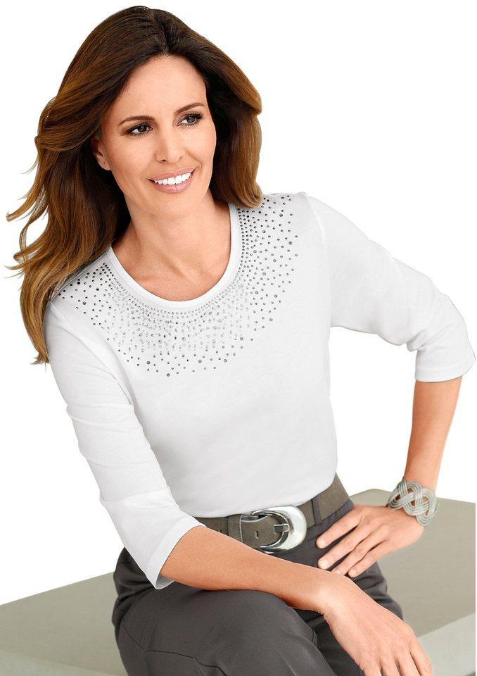 Lady Shirt mit schimmernden Metallplättchen in wollweiß