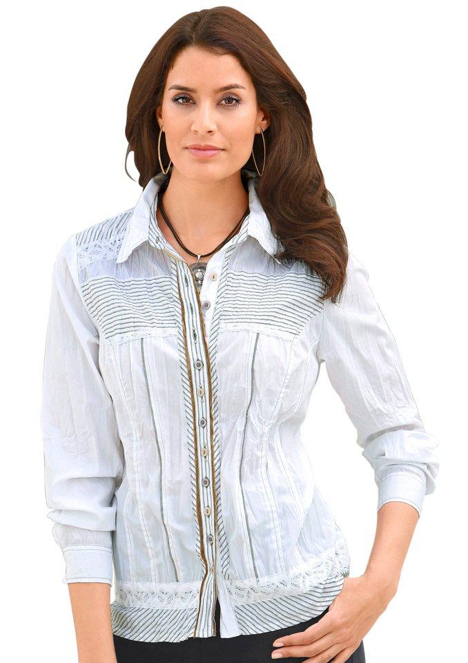 Classic Inspirationen Bluse mit Knöpfen in Blüten-Optik in weiß