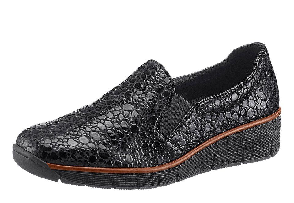 Rieker Slipper mit Handnaht und Kontrastpaspel in schwarz